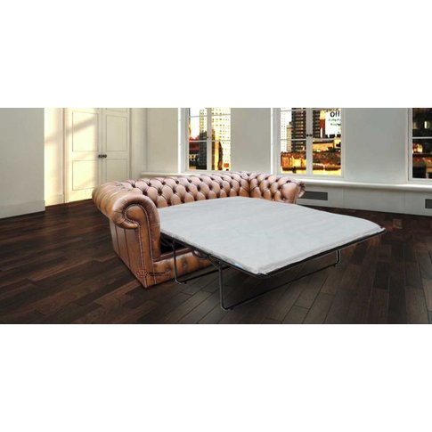 Chesterfield 3 Seater Antique Tan Leather Sofabed Se...