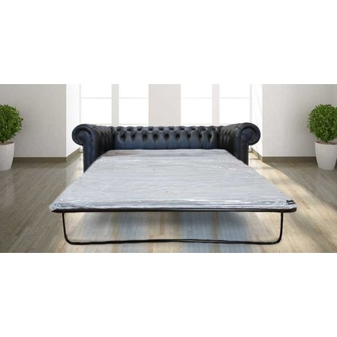 Chesterfield 3 Seater Black Leather Sofabed Offer