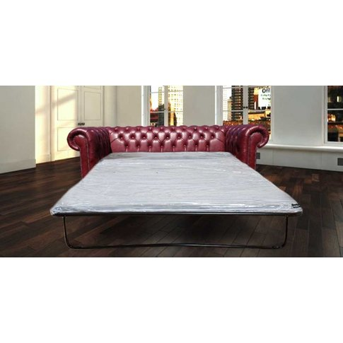 Chesterfield 3 Seater Settee Old English Burgandy Le...