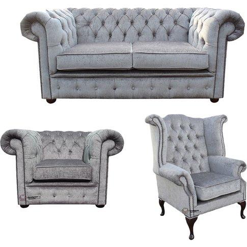 Chesterfield 2 Seater Sofa + Club Chair + Queen Anne...