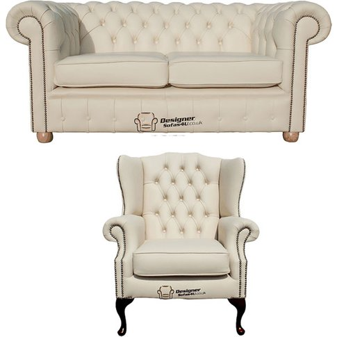 Chesterfield 2 Seater Sofa + Mallory Wing Chair Leather Sofa&Hellip;