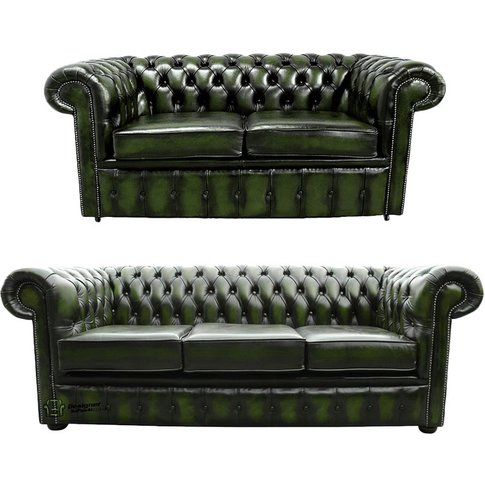 Chesterfield 3+2 Leather Sofa Offer Antique Green