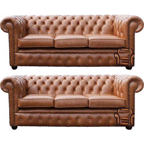 Chesterfield 3 Seater + 3 Seater Sofa Old English Ta...