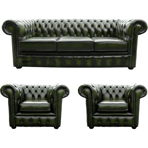 Chesterfield 3 Seater Sofa + 2 X Club Chairs Leather...