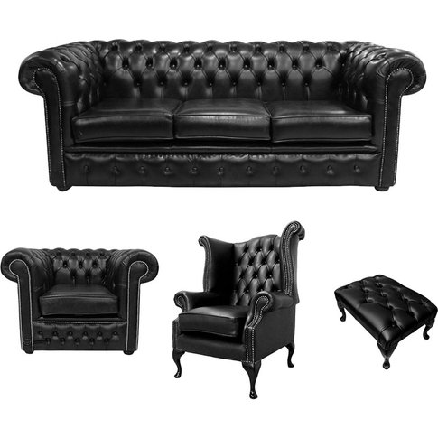 Chesterfield 3 Seater Sofa + Club Chair + Queen Anne...