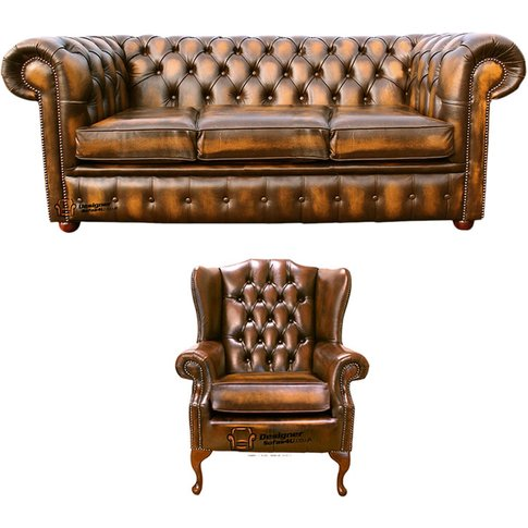 Chesterfield 3 Seater Sofa + Mallory Wing Chair Leat...