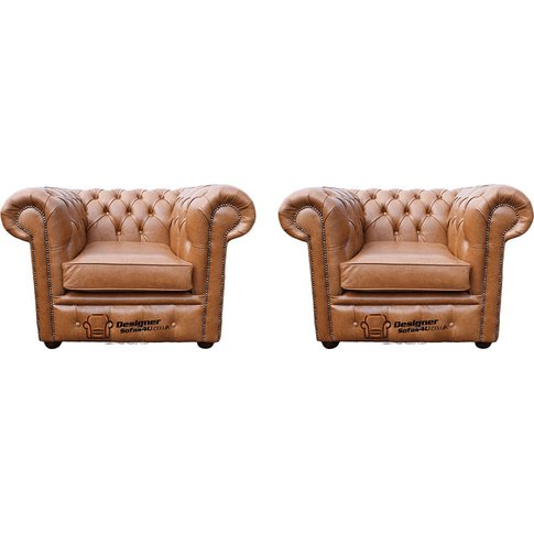 Chesterfield 2 X Club Chairs Old English Tan Leather Sofa Offer