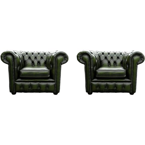 Chesterfield 2 X Club Chairs Leather Sofa Suite Offe...