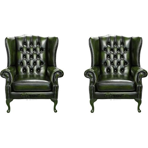 Chesterfield 2 X Mallory Wing Chair Leather Sofa Sui...