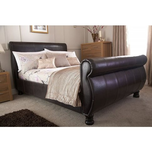 Chicago Sleigh 4'6&Quot; Double Bed Brown Faux Leather