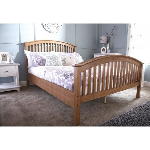 Madrid Double Wooden Bed Natural Oak High Foot End