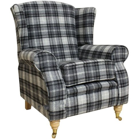 Arnold Wool Tweed Wing Chair Fireside High Back Armc...