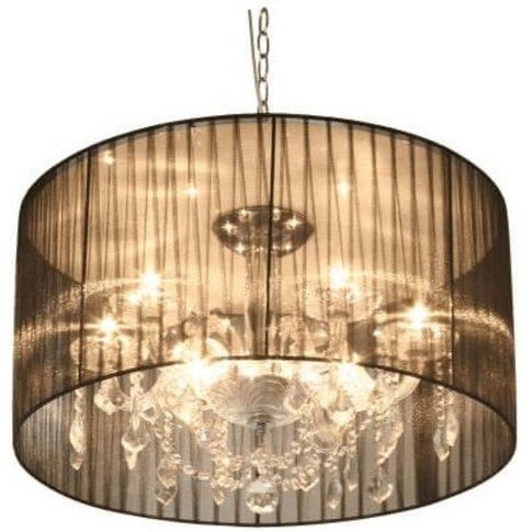 Black Shade With Droplets Chandelier