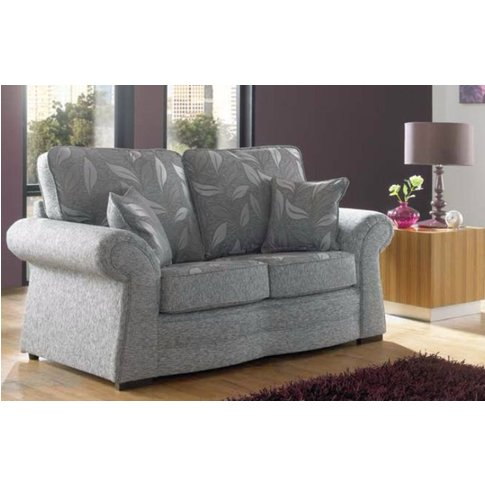 Roma 2 Seater Fabric Sofa Upholstered In Dundee Silver