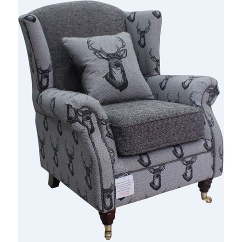 Wing Chair Fireside High Back Armchair Antler Stag C...