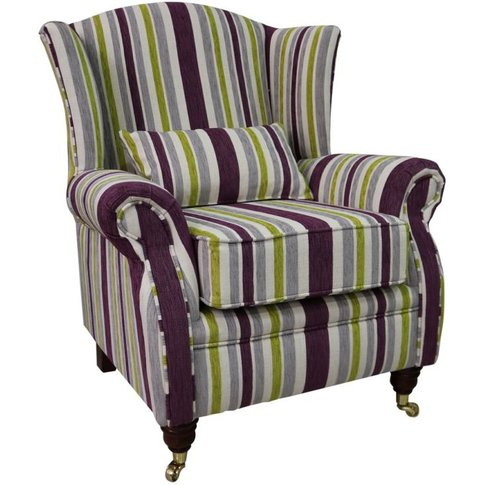 Wing Chair Fireside High Back Armchair Justin Stripe...