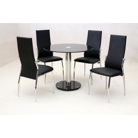 Andrea Black Round Dining Table