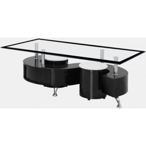 Boule Black High Gloss Coffee Table With Black Borde...