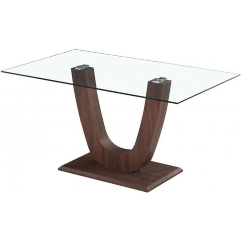 Elisabetta Clear Glass Top Dining Table With Walnut Effect Base