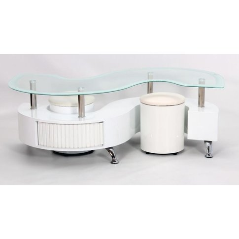 Krista White High Gloss Coffee Table With White Border