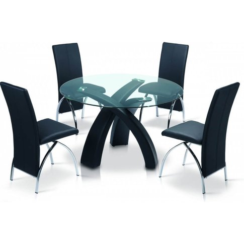 Madelyn Pu Black Frame Dining Table With Clear Glass...