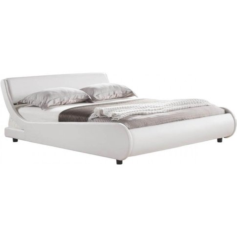 Nicolo White Faux Leather King Size Bed