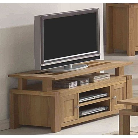 Ravenna Tv Cabinet 2 Doors & Shelves With Oak & Waln...