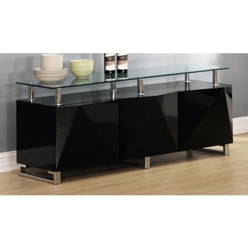 Rowley Black High Gloss Sideboard 3 Doors