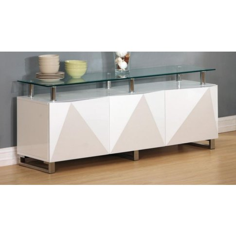 Rowley White High Gloss Sideboard 3 Doors