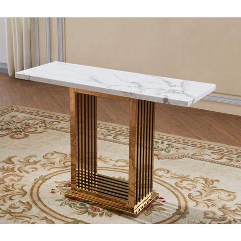 Soren White Marble Effect Console Table With Rose Go...