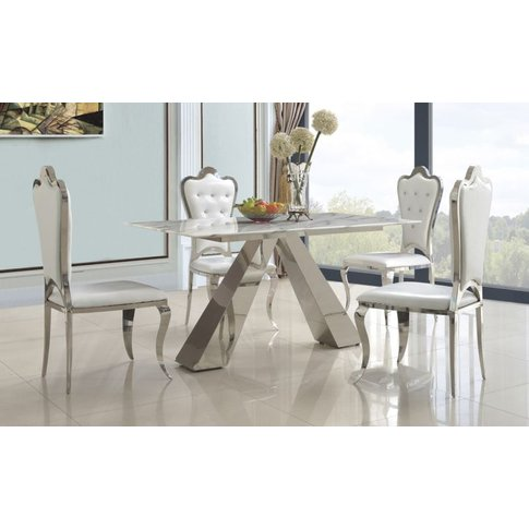 Valentina Natural Marble Top Dining Table With Stain...