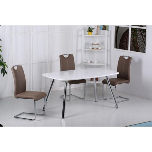 Torey High Gloss Dining Table Light Grey With Chrome...