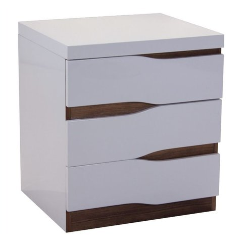 Warwick Bedside Table 3 Drawers White High Gloss