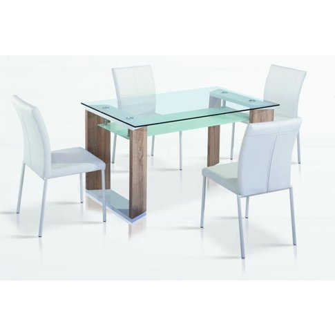 Adolph Glass Top Dining Table With Natural And White...