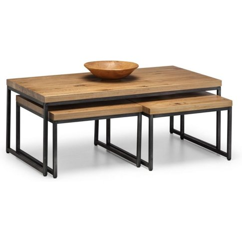 Bianca Solid Oak Nesting Coffee Tables With Style Gunmetal Legs