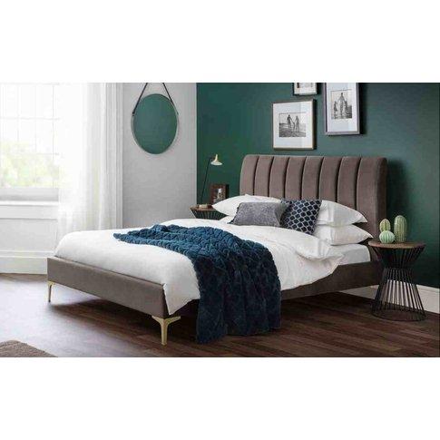 Donnalee 135cm Scalloped Velvet Bed With Brushed Gol...