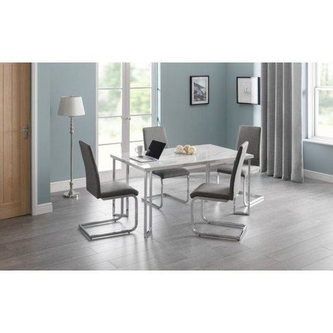 Frans Marble Top And Chrome Legs Dining Table