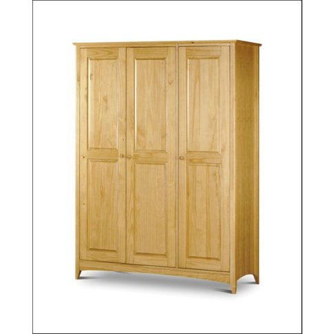 Leonora Solid Pine 3 Door Wardrobe With Low Sheen Lacquer Finish