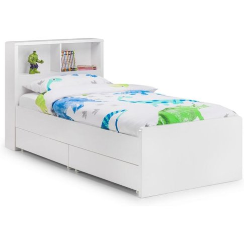 Mercede 90cm Solid High Headboard White Bookcase Bed...