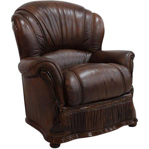 Bologna Armchair Genuine Italian Tabak Brown Leather...