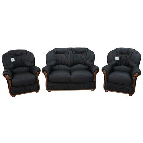 Debora 2+1+1 Genuine Italian Black Leather Sofa Suit...