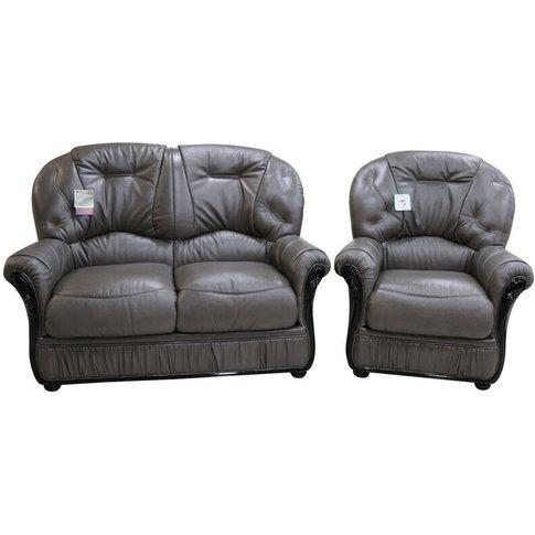 Debora 2 Seater + Armchair Genuine Italian Dark Grey...