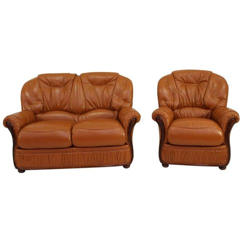 Mars Range 2 Seater + Armchair Genuine Italian Tan L...