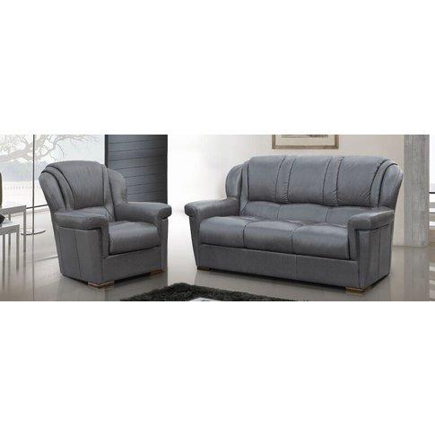 Lazio 3+1 Genuine Italian Leather Sofa Suite Dark Grey