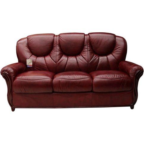 Lucca Genuine Italian Leather 3 Seater Sofa Settee Burgandy