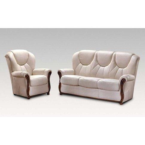 Lucca 3+1+1 Genuine Italian Cream Leather Sofa Suite...