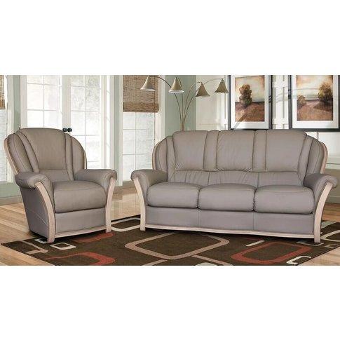 Reggio 3+1+1 Italian Leather Sofa Suite Light Grey
