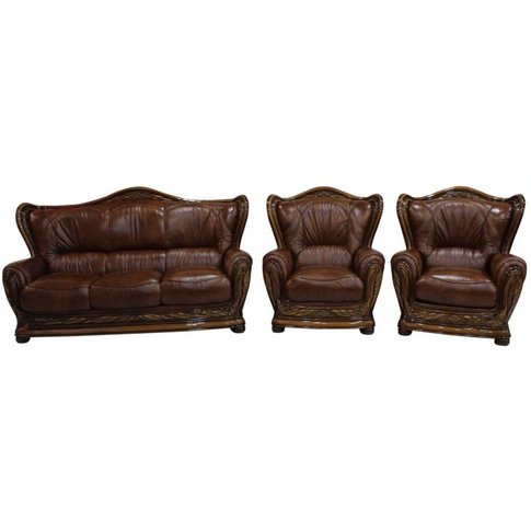 Regina 3+1+1 Genuine Italian Tabak Brown Leather Sof...