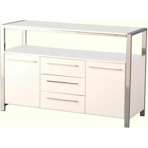 Charisma 2 Door 3 Drawer Sideboard In White Gloss/Ch...