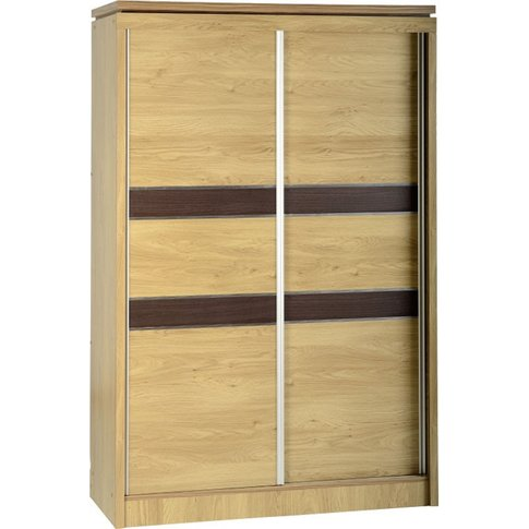 Charles 2 Door Sliding Wardrobe In Oak Effect Veneer...